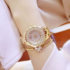Bs Women Fashion Rhinestone Dress Quartz Watch Gold