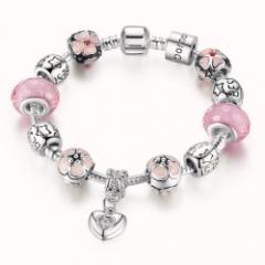 Bamoer 925 Silver Plated Heart Pendant Charm Bracelet
