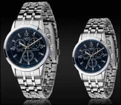 Nary Brand Fashion Couple Watch Stainless Steel Waterproof Lovers Classic Quartz Watches A Pair Blue