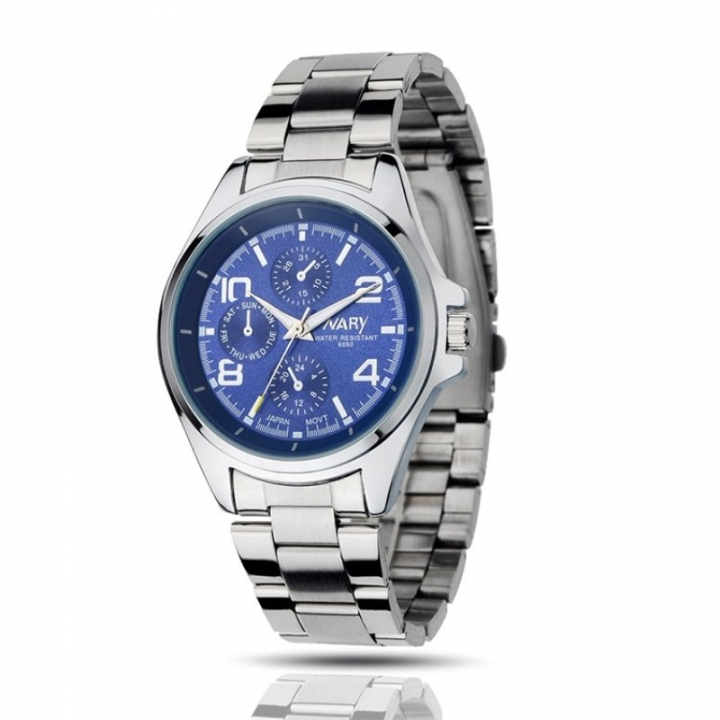 Nary Men Fashion Watch Multi-dial Alloy Stainless Steel Waterproof Male Classic Casual Quartz Watch Blue Normal