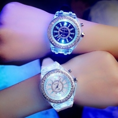 Women Men Fashion Lovers Quartz Watch Rhinestone Luminous Couple Watch Pink