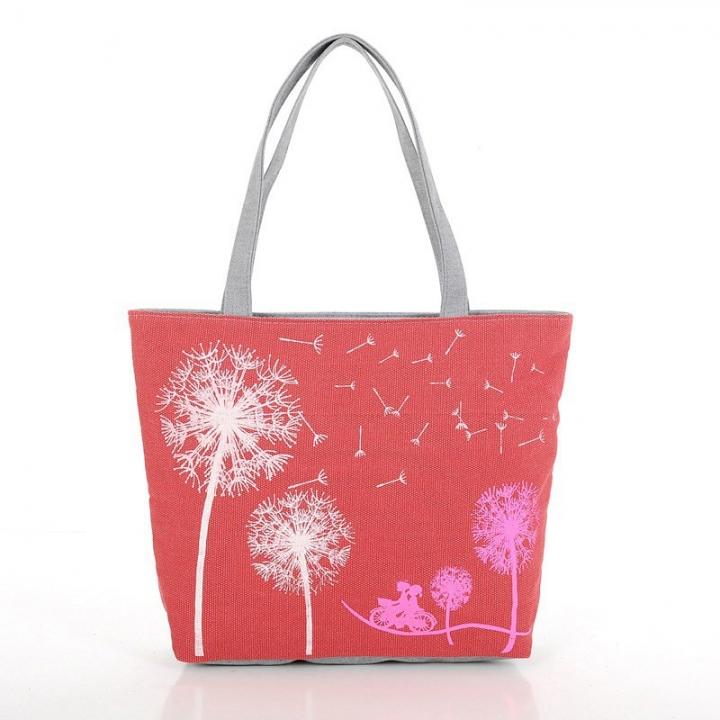 Fashion Dandelion Canvas Bag Printed Flowers Zipper Women Handbag Shoulder Bag Ladies Shopping Bags Red 43*32*11cm