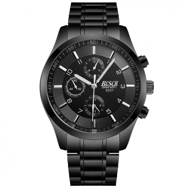 Bosck Men Brand Casual Sports Watch Stainless Steel Band Waterproof Male Quartz Watch Black Normal