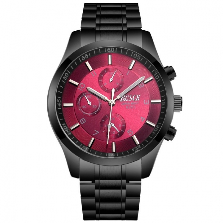 Bosck Men Brand Sports Watch Stainless Steel Watchband Waterproof Male Quartz Watch Red one size