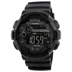 Skmei Men Sports Watches Dual Time Stopwatch Countdown Luminous Waterproof Digital Sport Wristwatch Black One Size