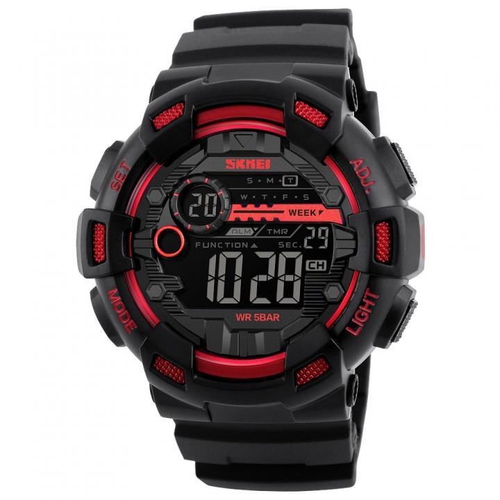 Skmei Men Sports Watches Dual Time Stopwatch Countdown Luminous Waterproof Digital Sport Wristwatch Red One Size