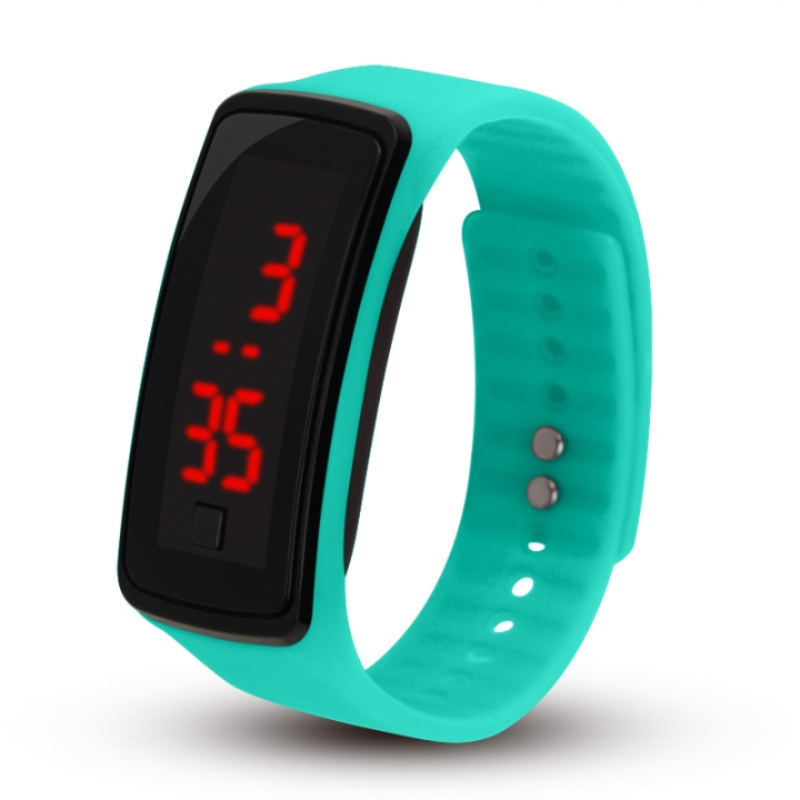 Licer Led Fashion Digital Bracelet Sport Silicone Strap Wristwatch Date Time Colorful Watch Blue One Size