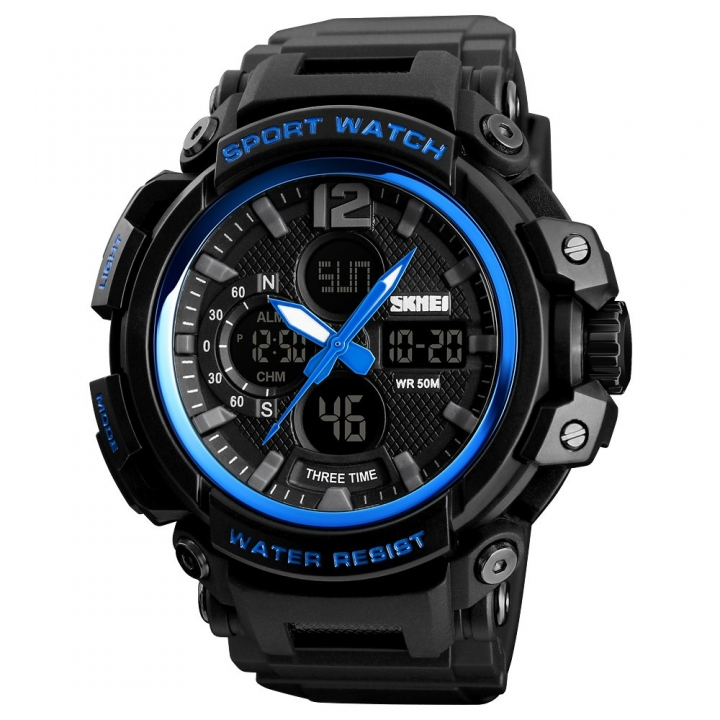 Skmei Men Sports Wristwatch Three Time Stopwatch Countdown Luminous Waterproof Outdoor Sport Watch Blue Normal