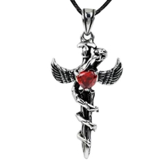 Men's Korean Fashion Diamond Pendant Angel Wing Cross Python Titanium Steel Pendant Necklace Silver Grey 45cm 4.3cm