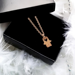 Fatima's Hand Mini Palm Amulet Women Necklace Clavicular Chain Gold 47cm
