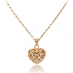 New Korean Necklace Fashion Heart-shaped Love Jewelry Peach Heart Hollowed Women Rhinestone Necklace Gold 48cm
