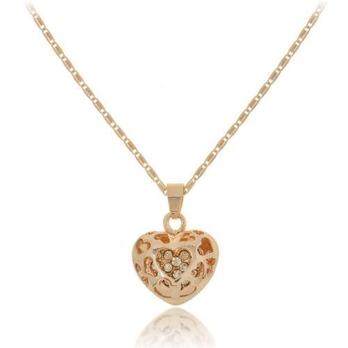New Korean Necklace Fashion Heart-shaped Love Jewelry Peach Heart Hollowed Women Rhinestone Necklace Gold 48cm