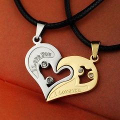 Fashion Lovers Pendants Men and Women Pair Love You Heart-to-heart Couple Pendants Gift Jewelry Gold 3.5cm Onesize