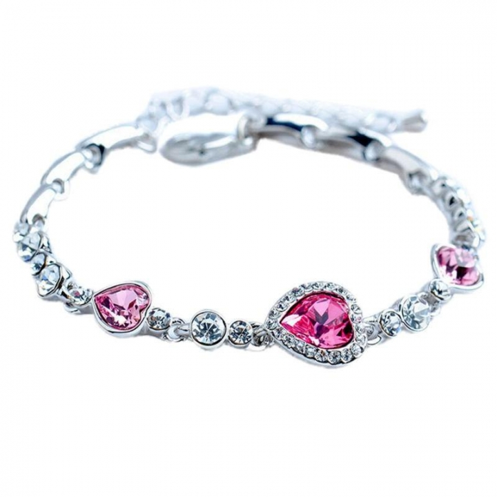 The Heart of The Ocean Love Heart-shaped Peach Zircon Crystal Bracelet Women Fashion Bracelet Red 17cm