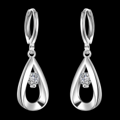 Women Fashion Pure Copper Plated Silver Zircon Imitation Diamond Drop Earring Dangle Earrings Silver 33mm
