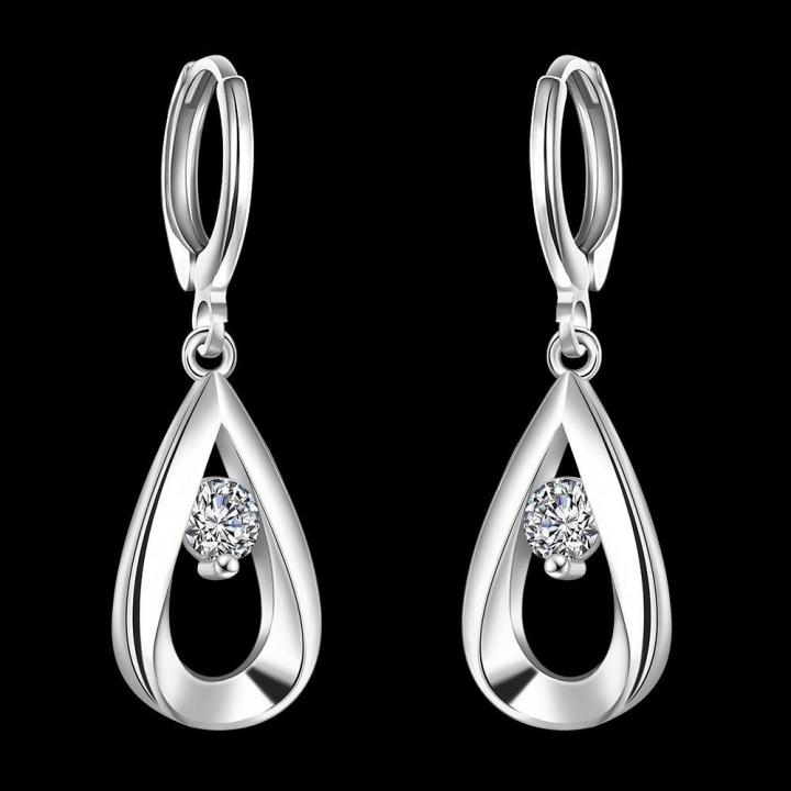 Women Fashion Pure Copper Plated Silver Zircon Imitation Diamond Drop Earring Dangle Earrings Silver 33mm