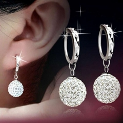 Women Fashion Anti-allergy Copper Plated Platinum Silver Rhinestones Earrings Lady Elegant Earrings Silver 12mm