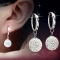 Women Fashion Anti-allergy Copper Plated Platinum Silver Rhinestones Earrings Lady Elegant Earrings Silver 10mm