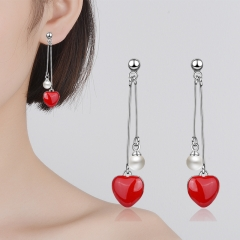 Women's Korean Style Copper Plated Platinum Pearl Red Love Tassel Personality Net Red Drop Earrings Silver 46mm