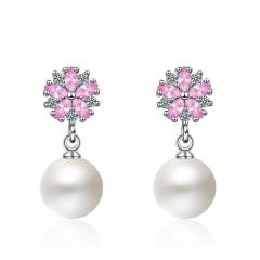 Women's Fashion Copper Plated Platinum Cherry Blossom Zircon Pearl Earrings Short Drop Earrings Silver 24mm