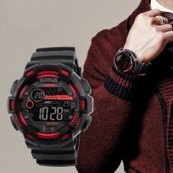Skmei Men Sports Watches Dual Time Stopwatch Countdown Luminous Waterproof Digital Sport Wristwatch Red