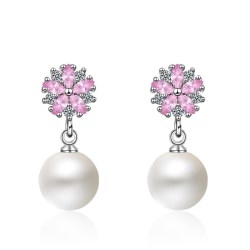 Women's Fashion Copper Plated Platinum Cherry Blossom Zircon Pearl Earrings Short Drop Earrings