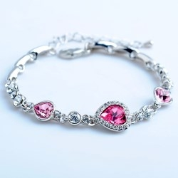 The Heart of The Ocean Love Heart-shaped Peach Zircon Crystal Bracelet