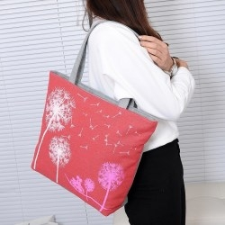 Fashion Dandelion Canvas Bag Printed Flowers Zipper Women Handbag Shopping Bags