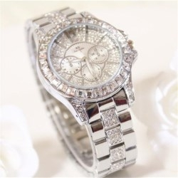 bs women brand fashion diamond dress classic luxury business quartz watches silver