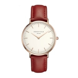 rosefield women simple fashion leather waterproof quartz watch red