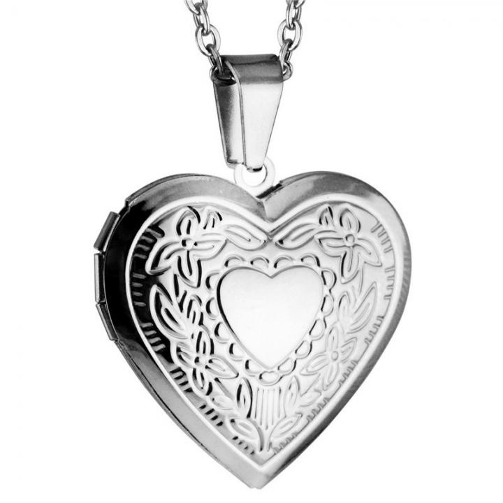 Women Love Hearts Heart-shaped Carve Photo Frame Classic Titanium Steel Pendant Necklace Silver 50cm