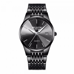 Wlisth Brand Men Luxury Business Quartz Watch Calendar Waterproof Male Classic Wristwatch Black Normal