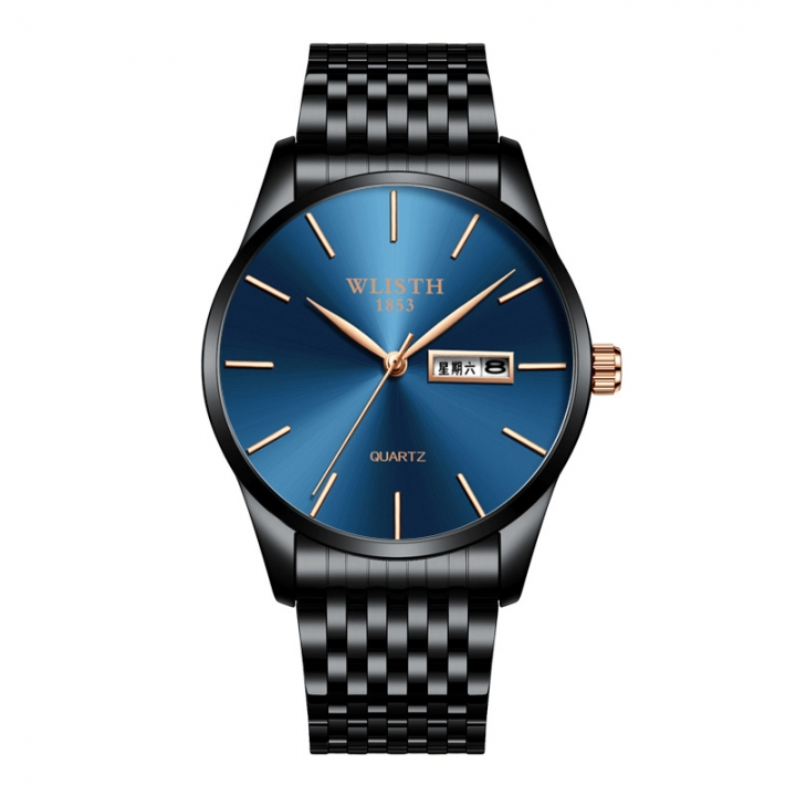Wlisth Brand New Style Men's Business Quartz Watch Double Calendar Waterproof Male Casual Wristwatch Blue Normal
