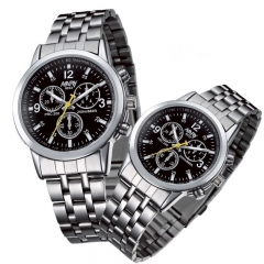 Nary Brand Fashion Couple Watch Stainless Steel Waterproof Lovers Classic Quartz Watches A Pair Black