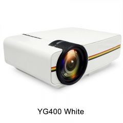 Led Mini Protable Multimedia Projector Wired Sync Display Video For Home Theatre Support 1080P YG400 White 20.1*14.6*7.6cm