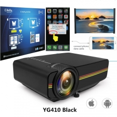 Led Mini Protable Multimedia Projector Wired Sync Display Video For Home Theatre Support 1080P YG410 Black 20.1*14.6*7.6cm