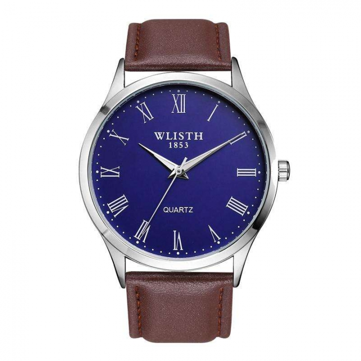 Wlisth New Waterproof Men Casual Quartz Watch Simple Student Leather Stainless Steel Strap Watch Blue Leather Strip Normal