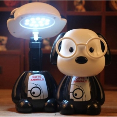 Licer Led Cartoon Rechargeable Desk Lamp Eye Protection Fantastic Interesting Children Table Lamp Black Dog 24cm 3w