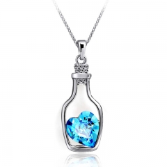 [Valentines Gift] Womens Wish Bottle Crystal Pendant Necklace Crystal Drifting Bottle Necklace Blue 45cm