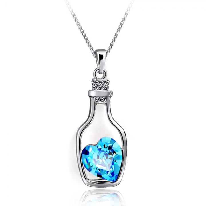 Women's Wish Bottle Pendant Necklace Heart-shaped Crystal Drifting Bottle Necklace Blue 45cm