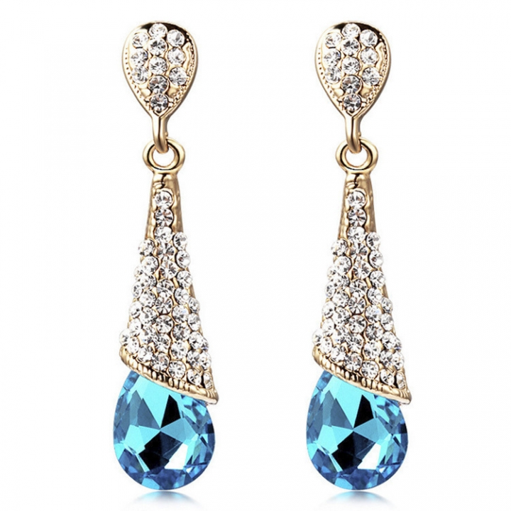 PRINLLA Women Fashion Water Drop Crystal Earrings Red Bride Wedding Drop Earrings Blue 45mm