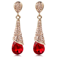 PRINLLA Women Fashion Water Drop Crystal Earrings Red Bride Wedding Drop Earrings Red 45mm