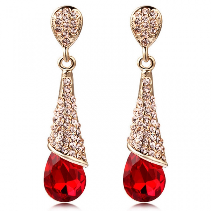 PRINLLA Women Fashion Water Drop Crystal Earrings Red Bride Wedding Drop Earrings Red 45mm