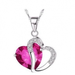 Women Natural Amethyst Pendant Necklace Ladies Fashion Popular Heart-shaped Crystal Necklace Rose red 45cm