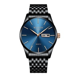 Wlisth Men Double Calendar Business Watch Blue