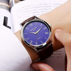 Wlisth New Waterproof Men Casual Leather Quartz Watch Blue