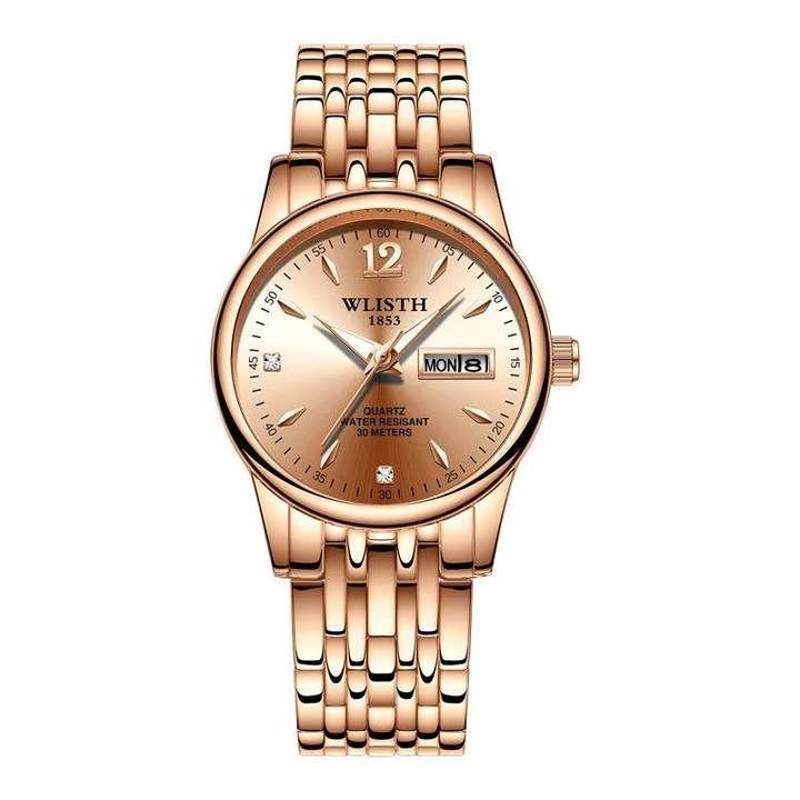 WLISTH Women Fashion Watch Stainless Steel Double Calendar Waterproof  Ladies Classic Quartz Watch Gold Normal