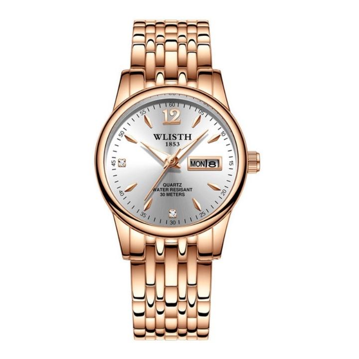 WLISTH Women Fashion Watch Stainless Steel Double Calendar Waterproof  Ladies Classic Quartz Watch Gold White Normal