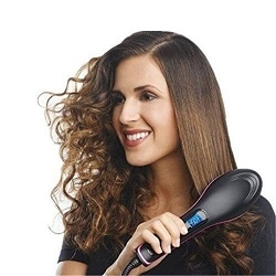 Professional Electric Fast Straight Hair Comb With LCD Display Straightening Hair Dryer Brush Black