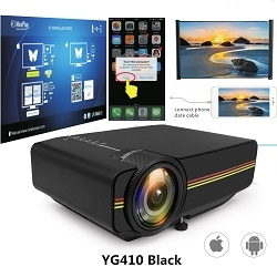 Led Mini Protable Multimedia Projector Wired Sync Display Video For Home Theatre Support 1080P YG410 Black